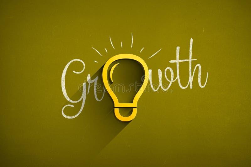 Icona della lampadina sulla lavagna con il testo di crescita fotografie stock libere da diritti