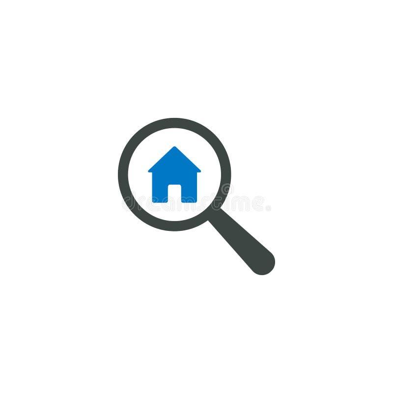 Icona della lente d'ingrandimento, icona domestica della casa illustrazione vettoriale