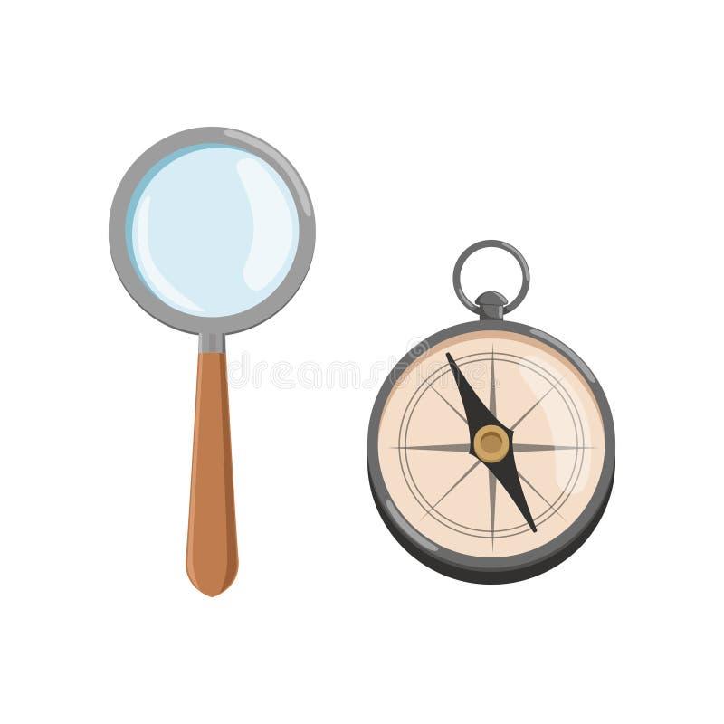 Icona della lente di ingrandimento della lente d'ingrandimento con la maniglia e la bussola di legno Simboli di archeologia Proge illustrazione vettoriale