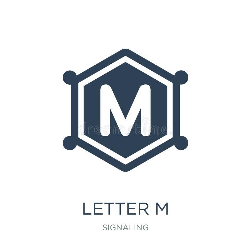 icona della lettera m. nello stile d'avanguardia di progettazione icona della lettera m. isolata su fondo bianco piano semplice e illustrazione di stock