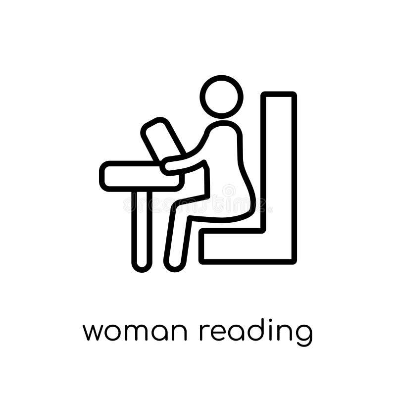 Icona della lettura della donna Donna lineare piana moderna d'avanguardia Readi di vettore royalty illustrazione gratis