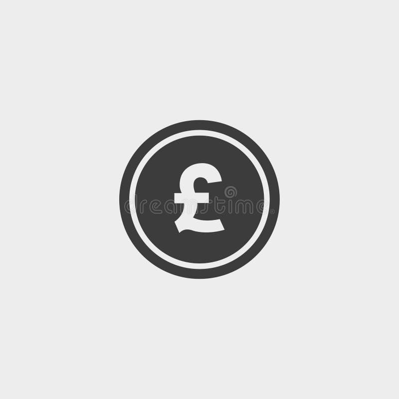 Icona della libbra dei soldi in una progettazione piana nel colore nero Illustrazione EPS10 di vettore illustrazione vettoriale