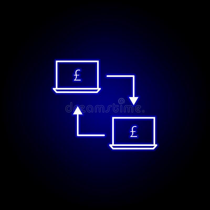 icona della libbra del collegamento del computer portatile nello stile al neon Elemento dell'illustrazione di finanza I segni e l royalty illustrazione gratis