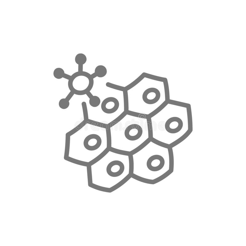 Icona della linea cellulare di attacchi del virus illustrazione di stock
