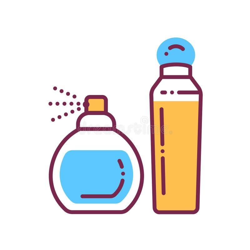 Icona della linea di colore in bottiglie di profumo Indicatore di fragranza Prodotto cosmetico femminile Pittogramma per pagina W illustrazione vettoriale