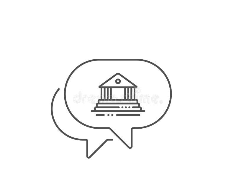 Icona della linea di costruzione del tribunale. Segno di architettura comunale. Courthouse. Vettore illustrazione vettoriale