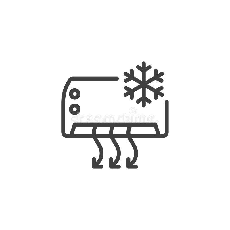 Icona della linea della funzione di raffreddamento del condizionatore d'aria illustrazione di stock