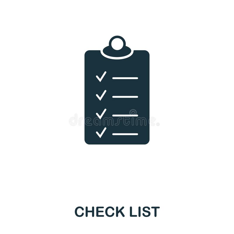 Icona della lista di assegno Linea progettazione dell'icona di stile Ui Illustrazione dell'icona della lista di controllo pittogr illustrazione di stock