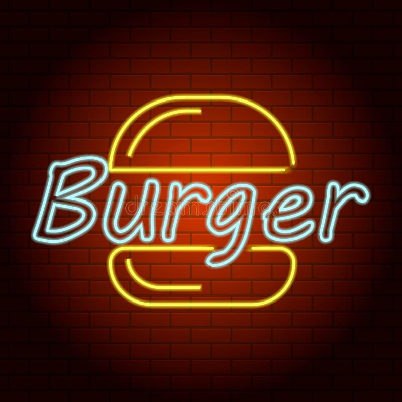 Icona della luce al neon di logo dell'hamburger, stile realistico illustrazione vettoriale