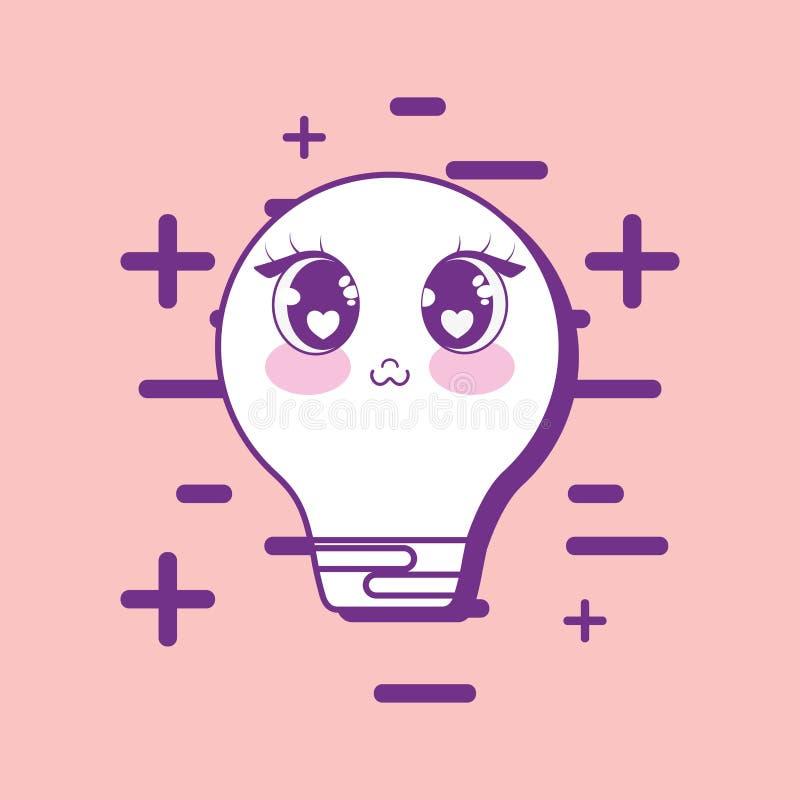 Icona della luce di lampadina di Kawaii illustrazione di stock
