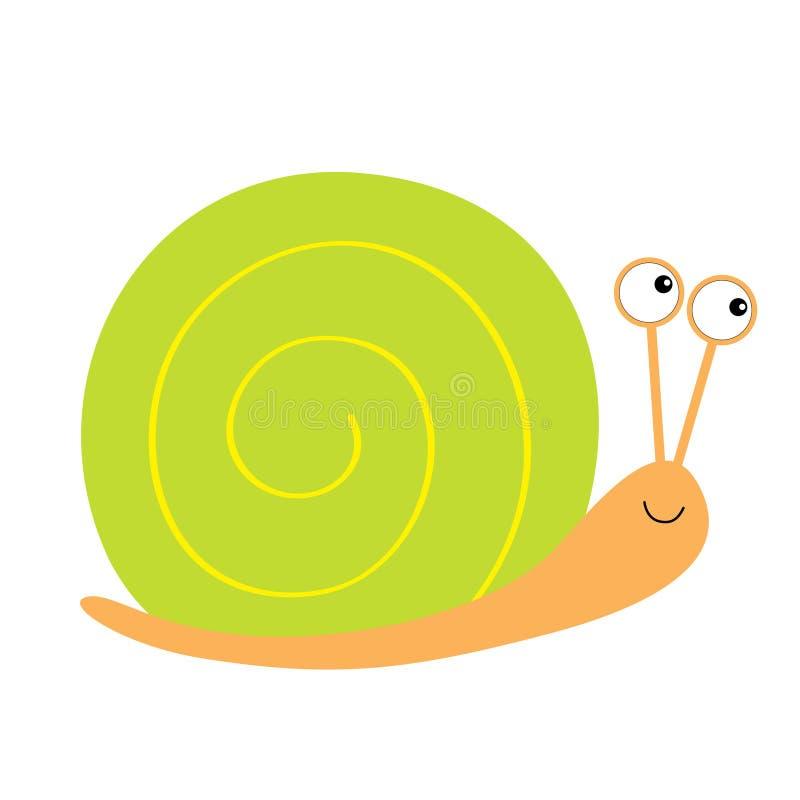 Icona della lumaca Coperture verdi Carattere divertente di kawaii sveglio del fumetto Grandi occhi Fronte sorridente Insetto isol illustrazione vettoriale