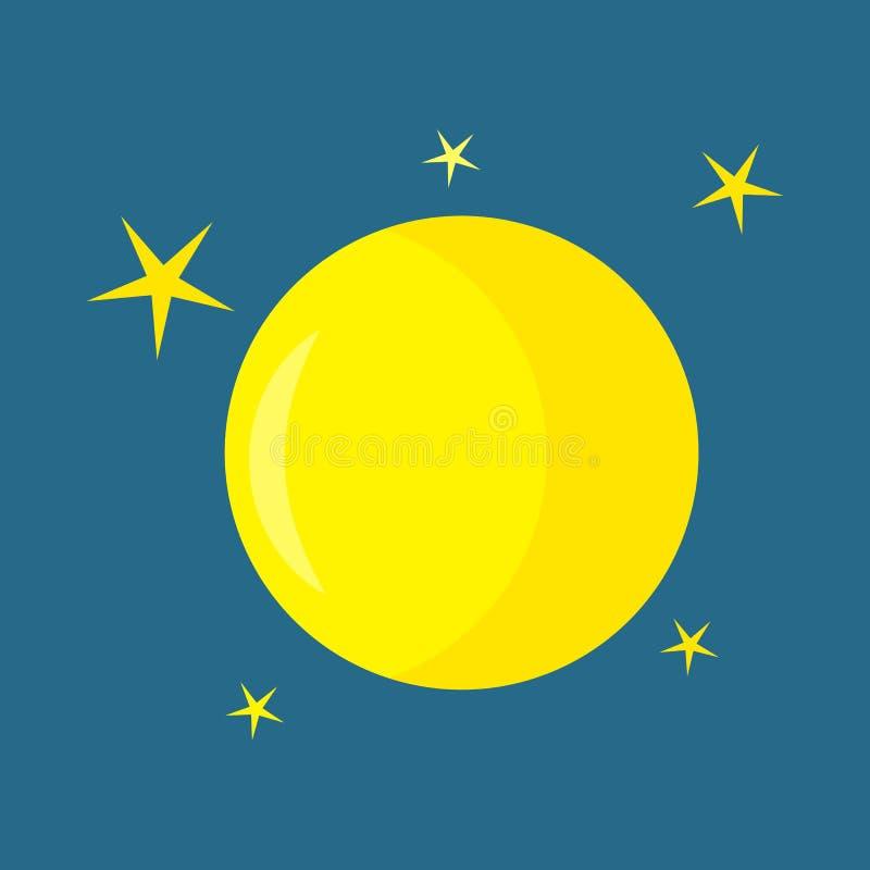 Icona della luna piena di vettore su un fondo blu scuro mezzanotte Illustrazione di vettore royalty illustrazione gratis