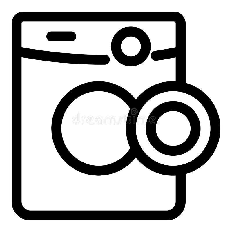 Icona della macchina del lavaggio della porta aperta, stile del profilo illustrazione di stock