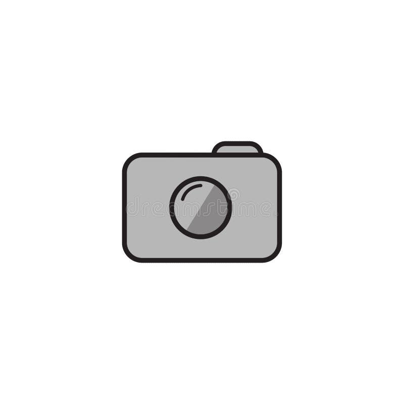 Icona della macchina fotografica nello stile piano d'avanguardia isolata su fondo bianco Simbolo per la vostra progettazione del  illustrazione di stock