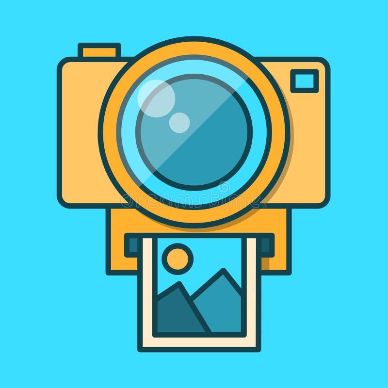 Icona della macchina fotografica nello stile piano d'avanguardia Progettazione piana nei colori alla moda Isolato su fondo blu illustrazione vettoriale