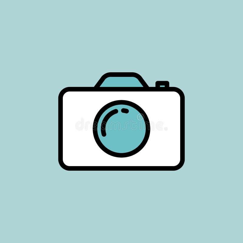 Icona della macchina fotografica su fondo blu royalty illustrazione gratis
