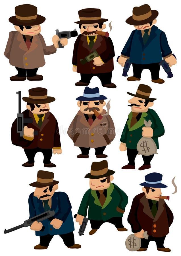 Icona della mafia del fumetto illustrazione di stock