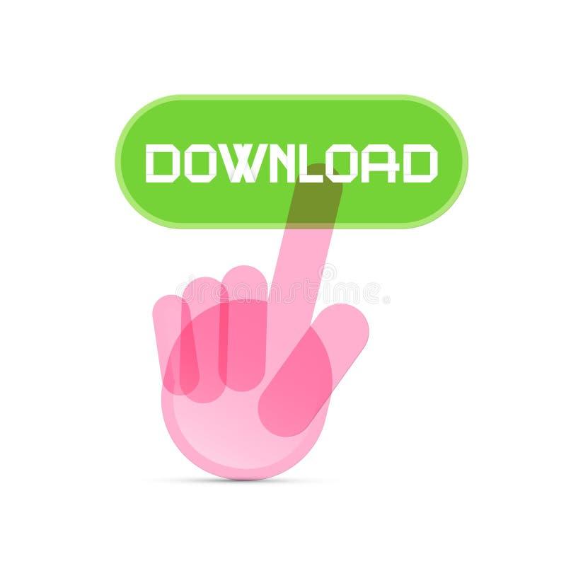 Icona della mano che spinge il bottone trasparente di download illustrazione di stock