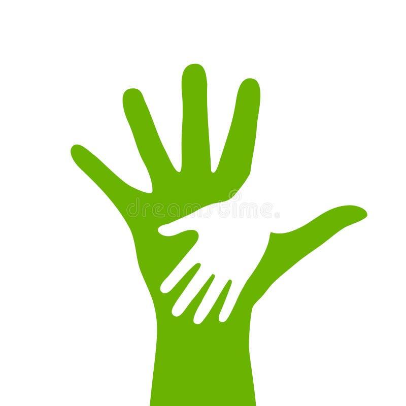 Icona della mano dell'adulto e del bambino illustrazione di stock