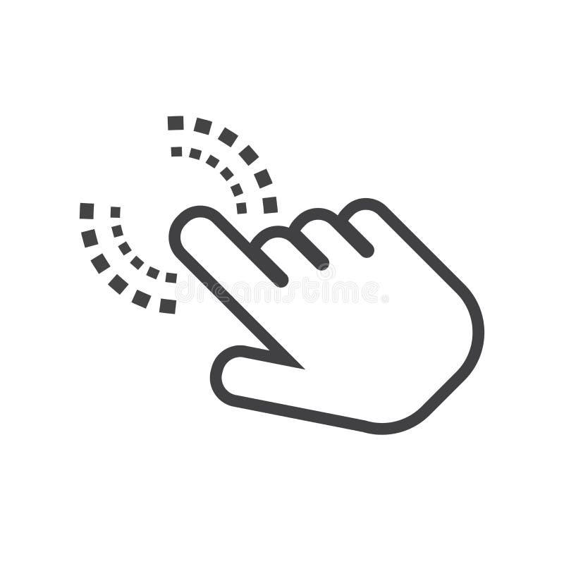 Icona della mano di clic Vettore piano del segno del dito del cursore illustrazione di stock