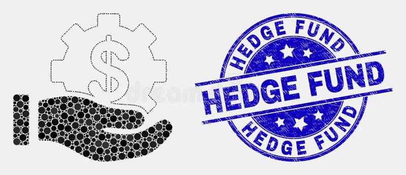 Icona della mano di offerta di servizio finanziario del pixel di vettore e guarnizione graffiata del bollo di Hedge Fund royalty illustrazione gratis