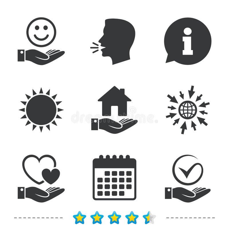 Icona della mano e di sorriso Cuore, segno di spunta illustrazione vettoriale