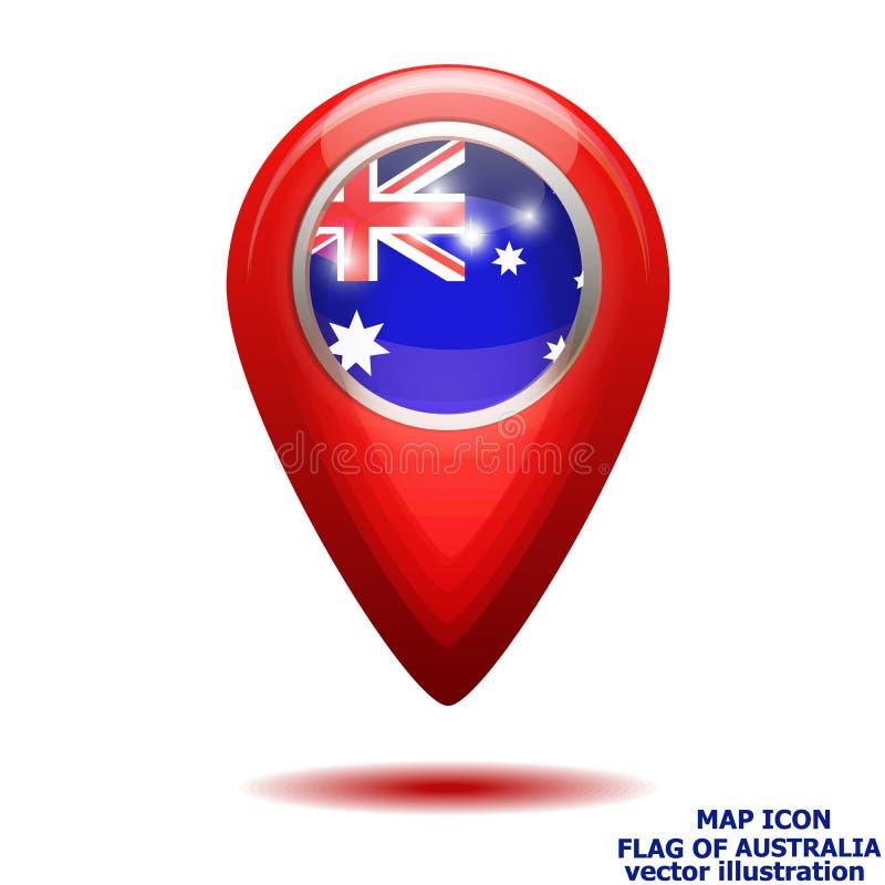 Icona della mappa con la bandiera dell'Australia Illustrazione di vettore illustrazione di stock