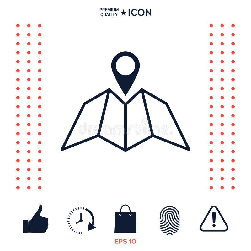 Download Icona Della Mappa Con Pin Pointer Illustrazione Vettoriale - Illustrazione di contrassegno, icona: 117975905