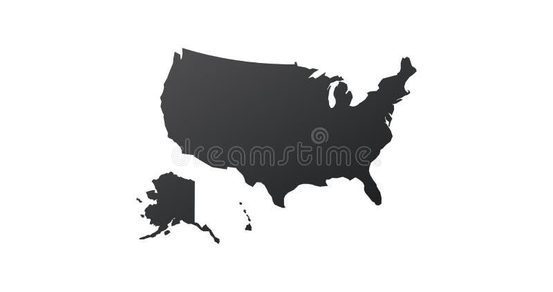 Icona della mappa di U.S.A. Stati Uniti Siluetta della mappa Illustrazione di vettore isolata su priorit? bassa bianca illustrazione vettoriale
