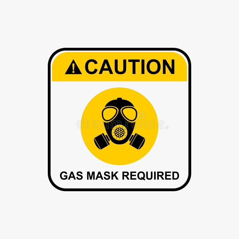 Icona della maschera antigas, vettore d'avvertimento di progettazione dell'icona di rischio biologico royalty illustrazione gratis