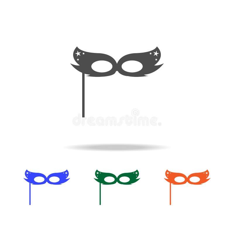 Icona della maschera di carnevale Elementi delle feste di Natale nelle multi icone colorate Icona premio di progettazione grafica illustrazione vettoriale