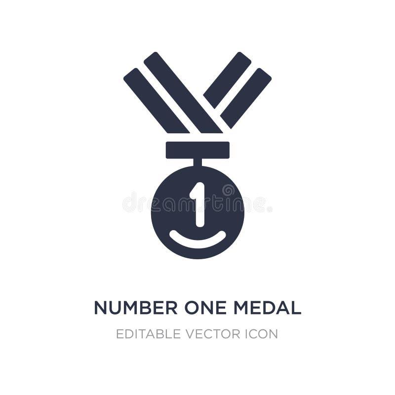 icona della medaglia di numero uno su fondo bianco Illustrazione semplice dell'elemento dal concetto generale illustrazione di stock