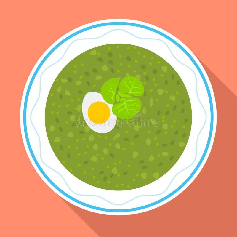 Icona della minestra degli spinaci, stile piano illustrazione vettoriale