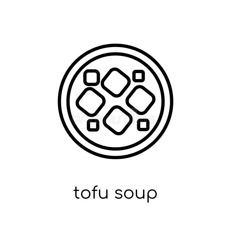 Icona della minestra del tofu dalla raccolta cinese dell'alimento illustrazione di stock