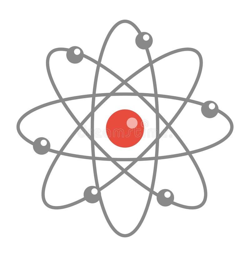 Icona della molecola dell'atomo, piana, stile del fumetto Isolato su priorità bassa bianca Illustrazione di vettore illustrazione di stock