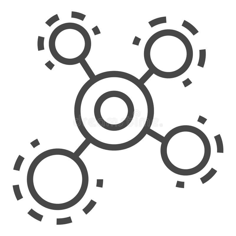 Icona della molecola, stile del profilo illustrazione di stock