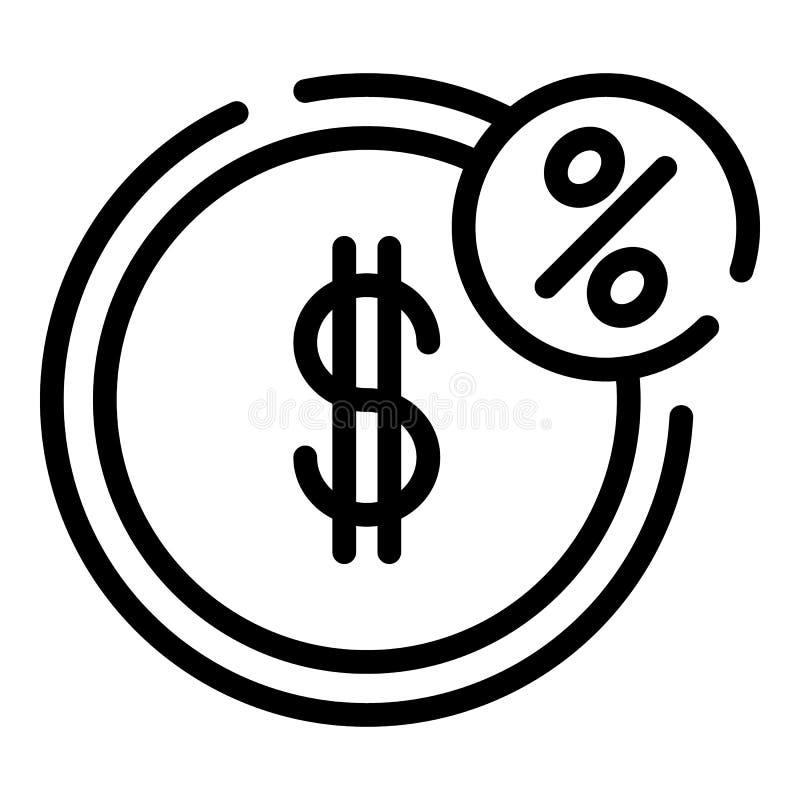 Icona della moneta delle percentuali del dollaro, stile del profilo illustrazione di stock