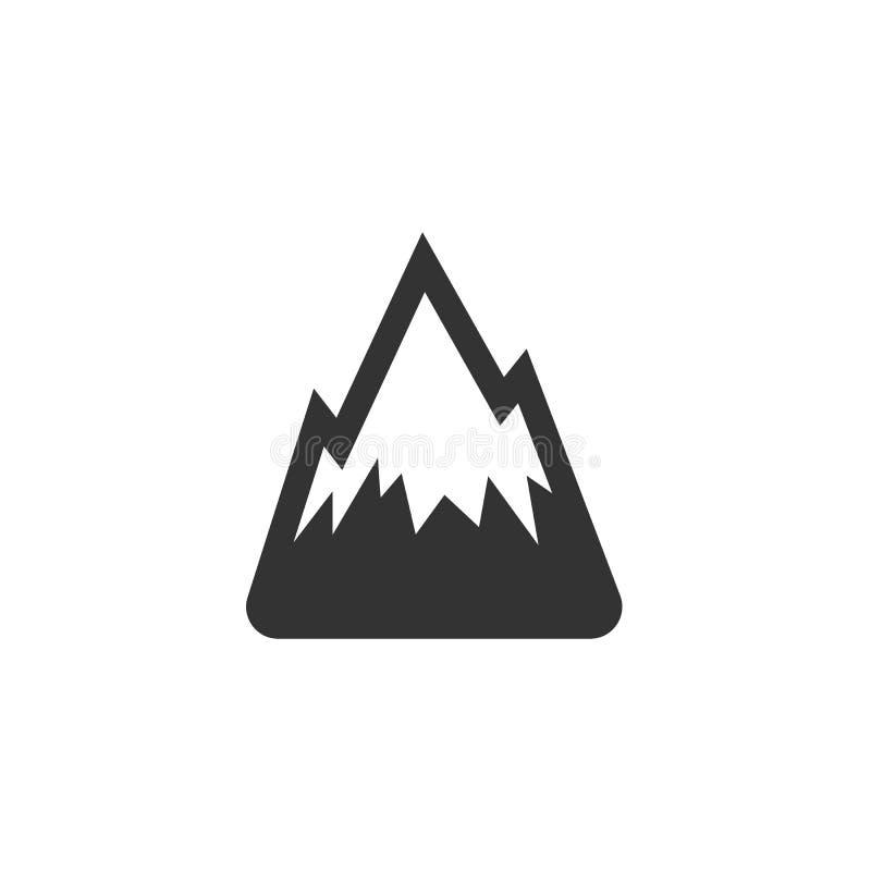 Icona della montagna Logo di vettore su fondo bianco immagine stock