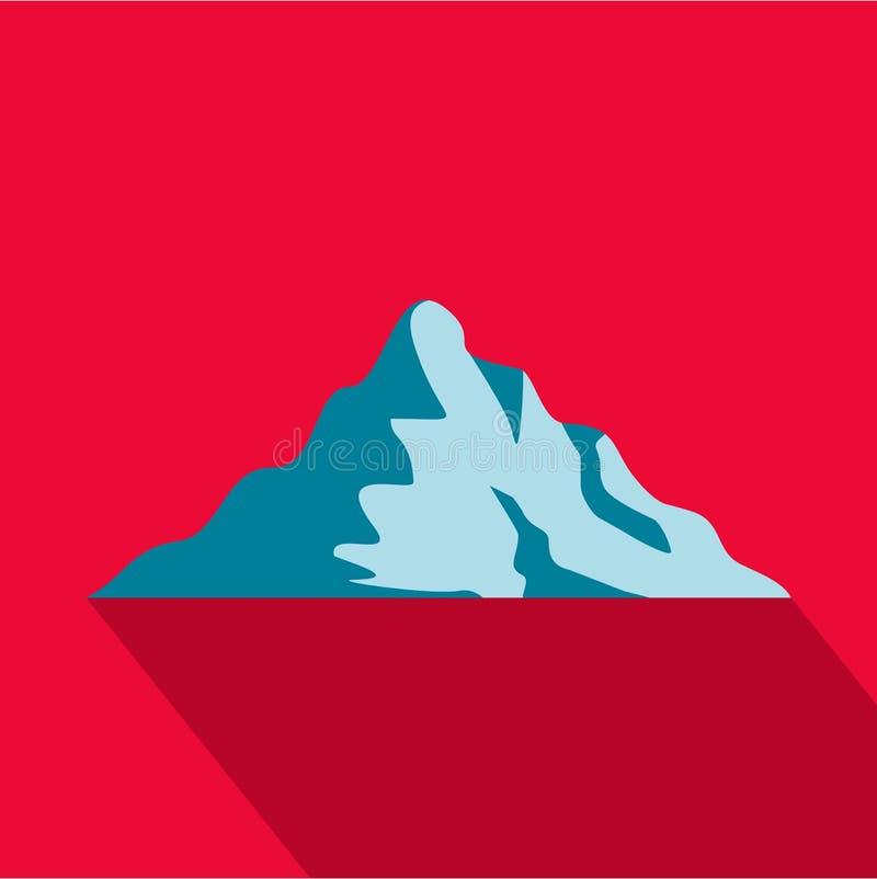 Icona della montagna della neve, stile piano royalty illustrazione gratis