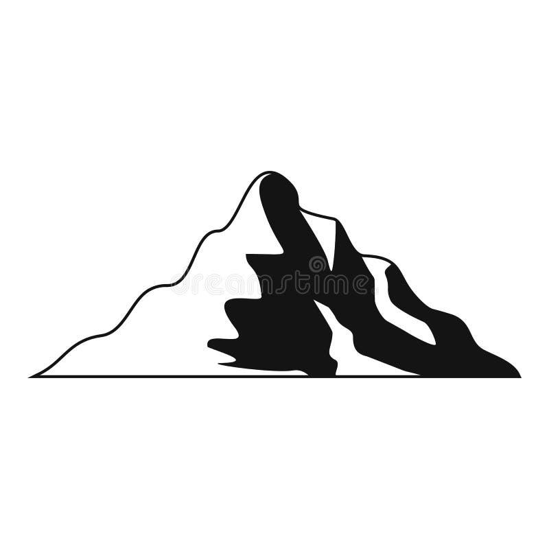 Icona della montagna della neve, stile semplice illustrazione di stock