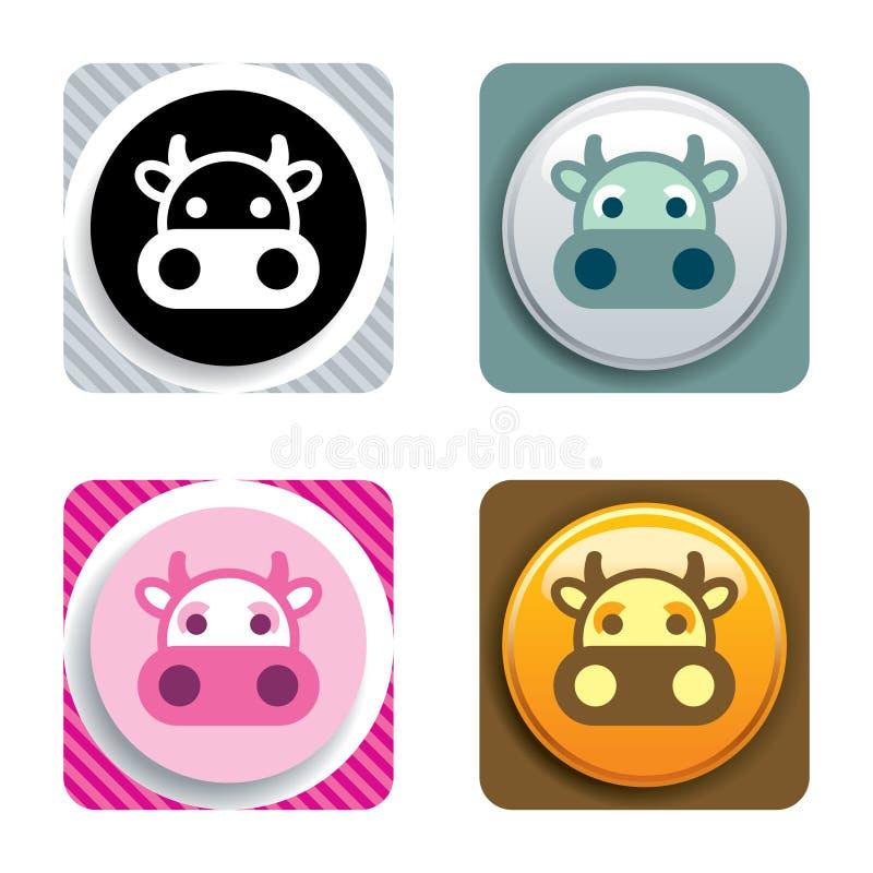 Icona della mucca immagini stock libere da diritti