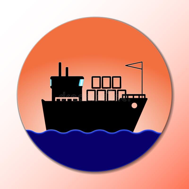 Icona della nave Concetto di consegna del carico, barca marina Segno del trasporto Immagine di vettore royalty illustrazione gratis