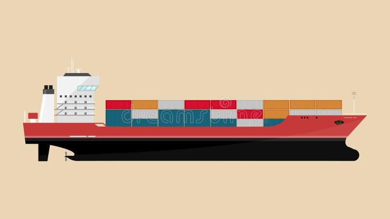Icona della nave da carico con i carichi del contenitore nel processo di trasporto dell'export-import illustrazione di stock
