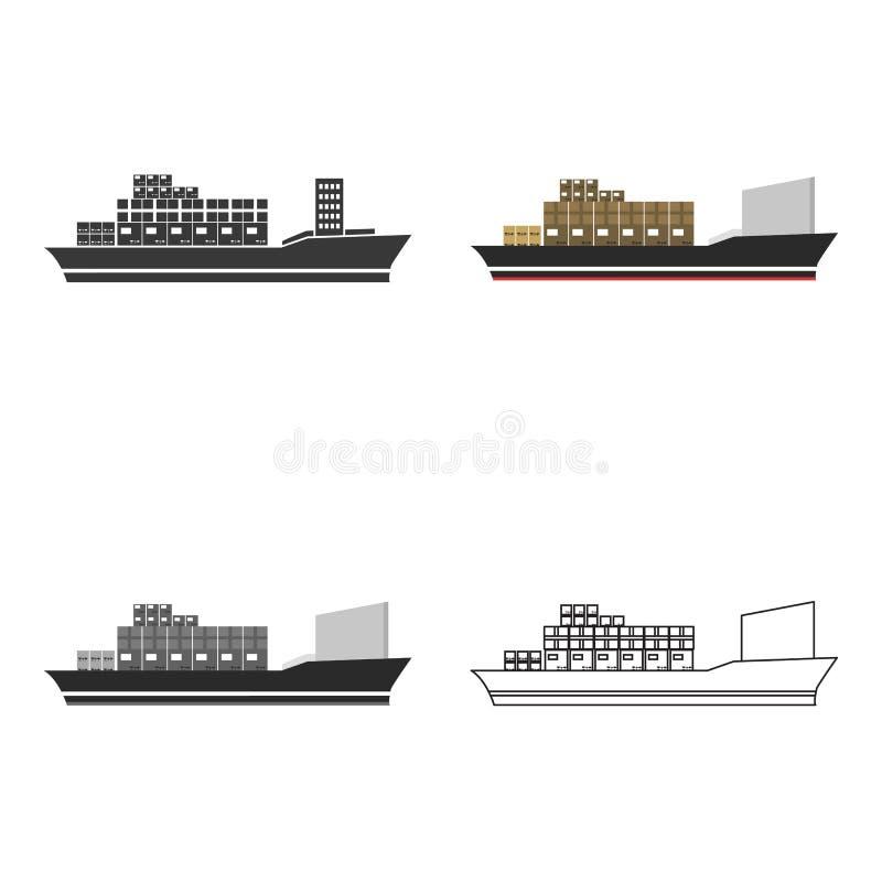Icona della nave da carico dell'illustrazione di vettore per il web ed il cellulare illustrazione di stock