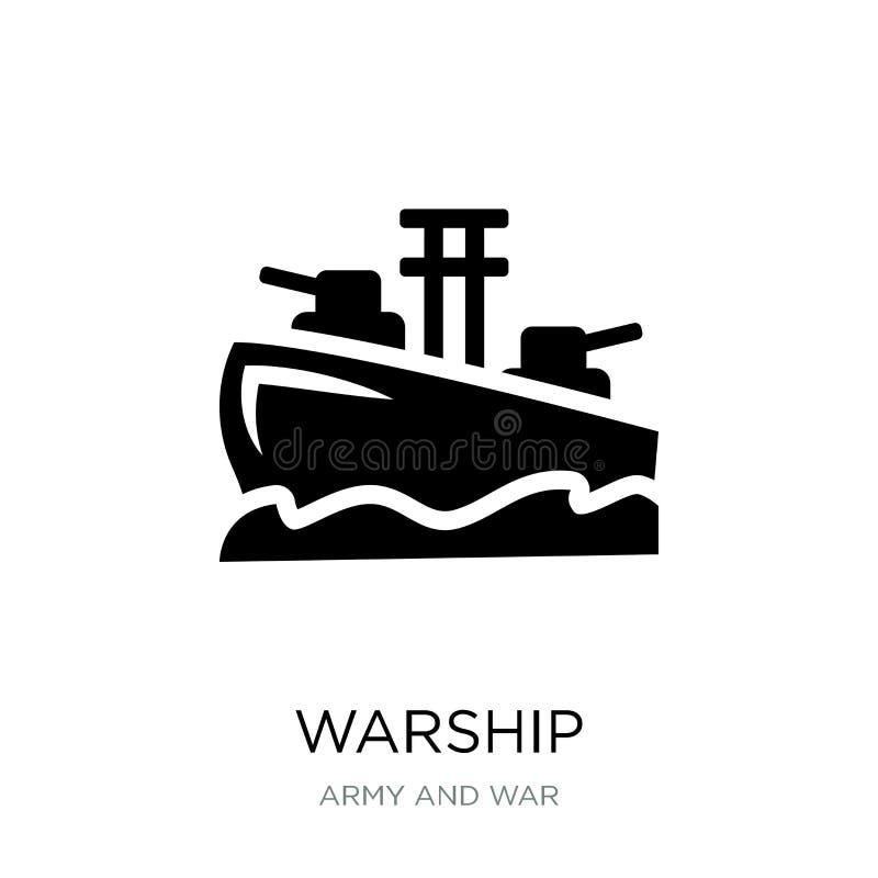icona della nave da guerra nello stile d'avanguardia di progettazione icona della nave da guerra isolata su fondo bianco simbolo  royalty illustrazione gratis