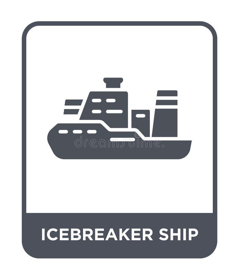 icona della nave del rompighiaccio nello stile d'avanguardia di progettazione icona della nave del rompighiaccio isolata su fondo illustrazione vettoriale