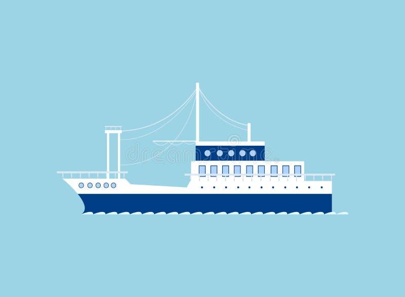 Icona della nave isolata sul blu royalty illustrazione gratis