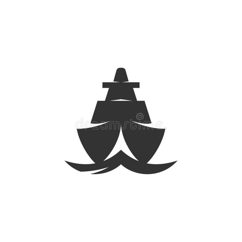 Icona della nave Logo di vettore su fondo bianco fotografia stock