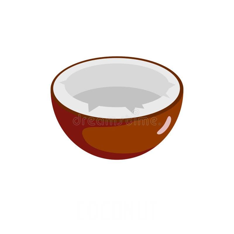 Icona della noce di cocco, stile piano royalty illustrazione gratis