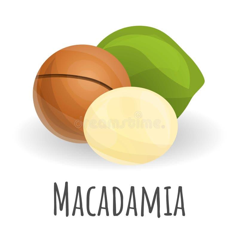 Icona della noce di macadamia, stile del fumetto royalty illustrazione gratis